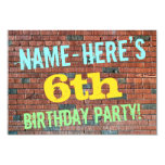 [ Thumbnail: Brick Wall Graffiti Inspired 6th Birthday + Name Invitation ]