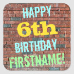 [ Thumbnail: Brick Wall Graffiti Inspired 6th Birthday + Name Sticker ]