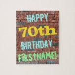 [ Thumbnail: Brick Wall Graffiti Inspired 70th Birthday + Name Jigsaw Puzzle ]