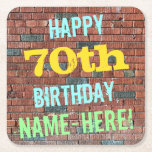 [ Thumbnail: Brick Wall Graffiti Inspired 70th Birthday + Name Paper Coaster ]