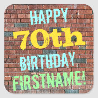 Brick Wall Graffiti Inspired 70th Birthday   Name Square Sticker
