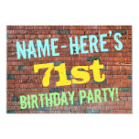 [ Thumbnail: Brick Wall Graffiti Inspired 71st Birthday + Name Invitation ]
