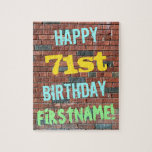 [ Thumbnail: Brick Wall Graffiti Inspired 71st Birthday + Name Jigsaw Puzzle ]