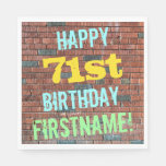 [ Thumbnail: Brick Wall Graffiti Inspired 71st Birthday + Name Paper Napkin ]