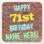 [ Thumbnail: Brick Wall Graffiti Inspired 71st Birthday + Name Paper Coaster ]