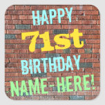 [ Thumbnail: Brick Wall Graffiti Inspired 71st Birthday + Name Sticker ]