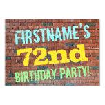 [ Thumbnail: Brick Wall Graffiti Inspired 72nd Birthday + Name Invitation ]