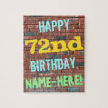 [ Thumbnail: Brick Wall Graffiti Inspired 72nd Birthday + Name Jigsaw Puzzle ]