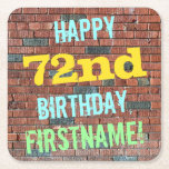 [ Thumbnail: Brick Wall Graffiti Inspired 72nd Birthday + Name Paper Coaster ]