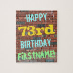 [ Thumbnail: Brick Wall Graffiti Inspired 73rd Birthday + Name Jigsaw Puzzle ]