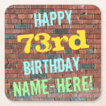 [ Thumbnail: Brick Wall Graffiti Inspired 73rd Birthday + Name Paper Coaster ]