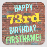 [ Thumbnail: Brick Wall Graffiti Inspired 73rd Birthday + Name Sticker ]
