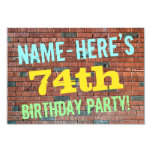 [ Thumbnail: Brick Wall Graffiti Inspired 74th Birthday + Name Invitation ]