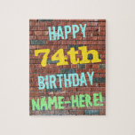 [ Thumbnail: Brick Wall Graffiti Inspired 74th Birthday + Name Jigsaw Puzzle ]