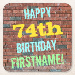 [ Thumbnail: Brick Wall Graffiti Inspired 74th Birthday + Name Paper Coaster ]
