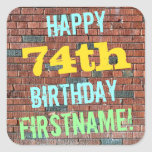 [ Thumbnail: Brick Wall Graffiti Inspired 74th Birthday + Name Sticker ]