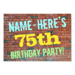 [ Thumbnail: Brick Wall Graffiti Inspired 75th Birthday + Name Invitation ]