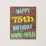 [ Thumbnail: Brick Wall Graffiti Inspired 75th Birthday + Name Jigsaw Puzzle ]