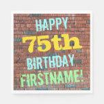 [ Thumbnail: Brick Wall Graffiti Inspired 75th Birthday + Name Paper Napkin ]