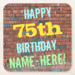 [ Thumbnail: Brick Wall Graffiti Inspired 75th Birthday + Name Paper Coaster ]