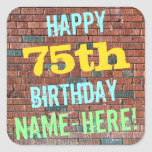[ Thumbnail: Brick Wall Graffiti Inspired 75th Birthday + Name Sticker ]