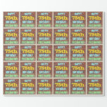 [ Thumbnail: Brick Wall Graffiti Inspired 75th Birthday + Name Wrapping Paper ]
