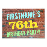 [ Thumbnail: Brick Wall Graffiti Inspired 76th Birthday + Name Invitation ]