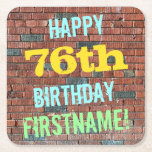 [ Thumbnail: Brick Wall Graffiti Inspired 76th Birthday + Name Paper Coaster ]