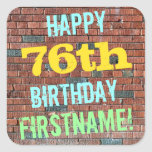 [ Thumbnail: Brick Wall Graffiti Inspired 76th Birthday + Name Sticker ]