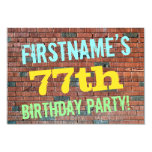 [ Thumbnail: Brick Wall Graffiti Inspired 77th Birthday + Name Invitation ]