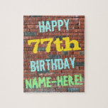 [ Thumbnail: Brick Wall Graffiti Inspired 77th Birthday + Name Jigsaw Puzzle ]