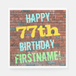 [ Thumbnail: Brick Wall Graffiti Inspired 77th Birthday + Name Napkin ]