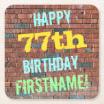 [ Thumbnail: Brick Wall Graffiti Inspired 77th Birthday + Name Paper Coaster ]