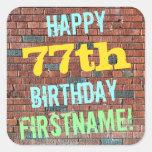 [ Thumbnail: Brick Wall Graffiti Inspired 77th Birthday + Name Sticker ]