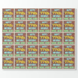 [ Thumbnail: Brick Wall Graffiti Inspired 77th Birthday + Name Wrapping Paper ]