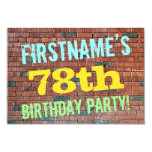 [ Thumbnail: Brick Wall Graffiti Inspired 78th Birthday + Name Invitation ]