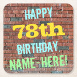 [ Thumbnail: Brick Wall Graffiti Inspired 78th Birthday + Name Paper Coaster ]