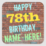 [ Thumbnail: Brick Wall Graffiti Inspired 78th Birthday + Name Sticker ]