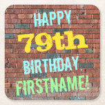 [ Thumbnail: Brick Wall Graffiti Inspired 79th Birthday + Name Paper Coaster ]