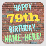 [ Thumbnail: Brick Wall Graffiti Inspired 79th Birthday + Name Sticker ]