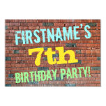 [ Thumbnail: Brick Wall Graffiti Inspired 7th Birthday + Name Invitation ]