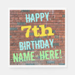 [ Thumbnail: Brick Wall Graffiti Inspired 7th Birthday + Name Napkin ]