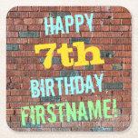 [ Thumbnail: Brick Wall Graffiti Inspired 7th Birthday + Name Paper Coaster ]