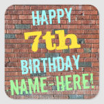 [ Thumbnail: Brick Wall Graffiti Inspired 7th Birthday + Name Sticker ]
