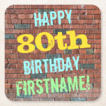 [ Thumbnail: Brick Wall Graffiti Inspired 80th Birthday + Name Paper Coaster ]