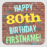 [ Thumbnail: Brick Wall Graffiti Inspired 80th Birthday + Name Sticker ]
