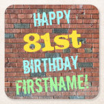 [ Thumbnail: Brick Wall Graffiti Inspired 81st Birthday + Name Paper Coaster ]