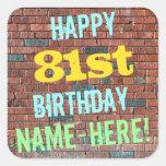 [ Thumbnail: Brick Wall Graffiti Inspired 81st Birthday + Name Sticker ]