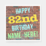 [ Thumbnail: Brick Wall Graffiti Inspired 82nd Birthday + Name Paper Napkin ]