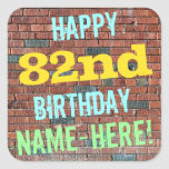 [ Thumbnail: Brick Wall Graffiti Inspired 82nd Birthday + Name Sticker ]